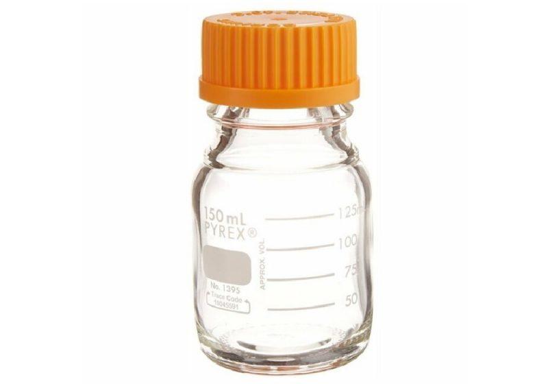 Frasco reagente 150ml Pyrex graduado com tampa 1395-150