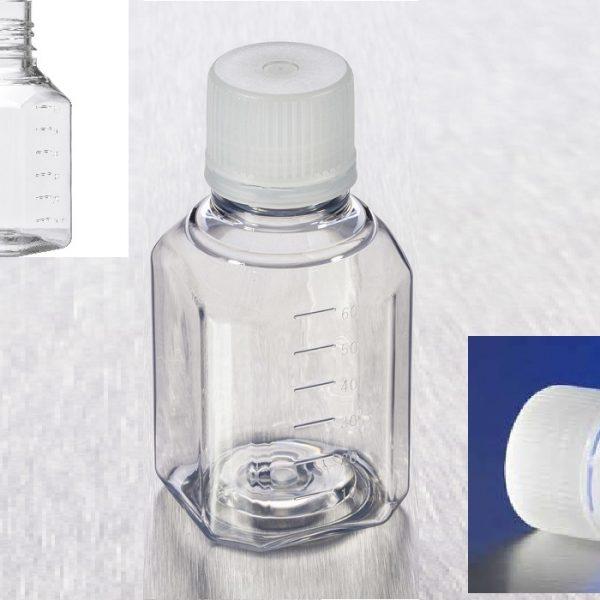 Garrafa armazenagem 60ml PET,tereftalato de polietileno, econolab estéril, com tampa de rosca em HDPE à prova de violação e à prova de adulteração, código 431730, marca Corning.