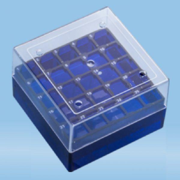 econolab Criobox 25_tubos 2ml policarbonato, cor azul, com tampa transparente para rmazenamento de criotubos de 1 a 2ml em freezer ou botijão de nitrôgenio