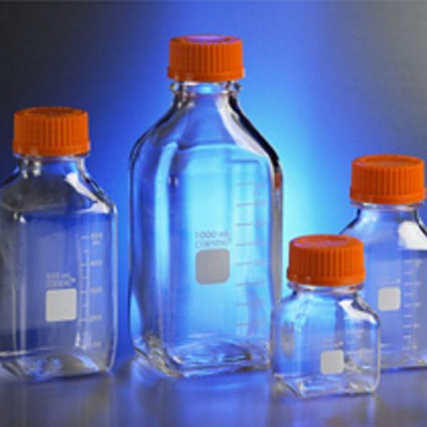 Frasco armazenamento coleta policarbonato, graduado, econolab com tampa de rosca, quadrado, marca Corning®