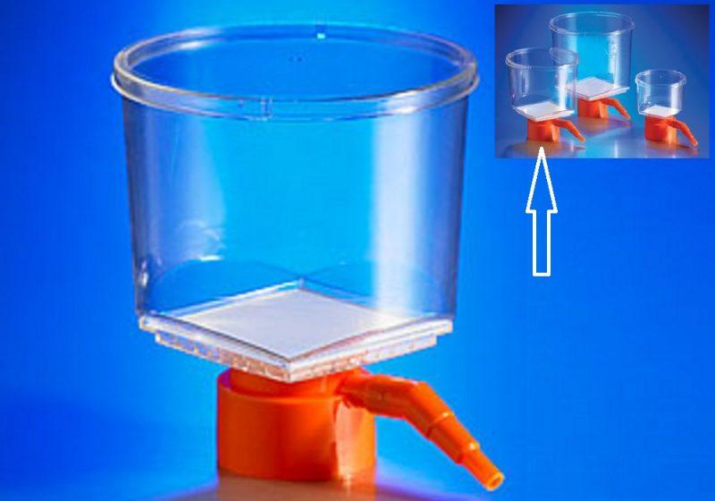 Funil filtração 500ml AC, somente funil, parte superior, capacidade de 500ml, membrana de CA, com poro de 0,22um, para uso com frascos com boca de 45mm, estéril, embalagem individual, caixa com 12 unidades, código 430513, marca Corning